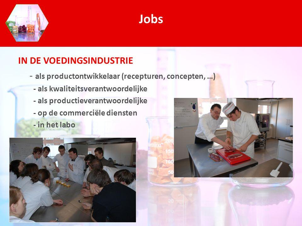 IN DE VOEDINGSINDUSTRIE - als productontwikkelaar (recepturen, concepten, …) - als kwaliteitsverantwoordelijke - als productieverantwoordelijke - op d