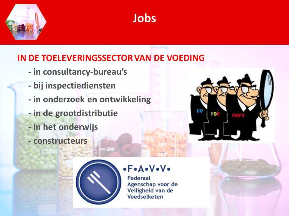 IN DE TOELEVERINGSSECTOR VAN DE VOEDING - in consultancy-bureau's - bij inspectiediensten - in onderzoek en ontwikkeling - in de grootdistributie - in