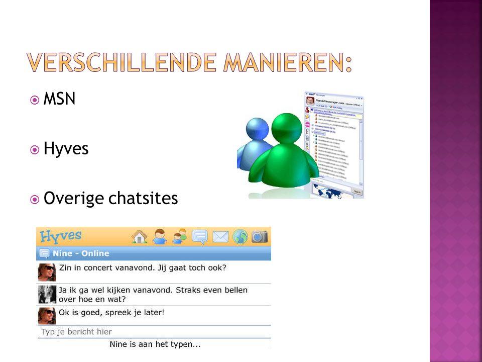  MSN  Hyves  Overige chatsites