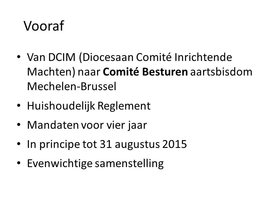Van DCIM (Diocesaan Comité Inrichtende Machten) naar Comité Besturen aartsbisdom Mechelen-Brussel Huishoudelijk Reglement Mandaten voor vier jaar In principe tot 31 augustus 2015 Evenwichtige samenstelling Vooraf