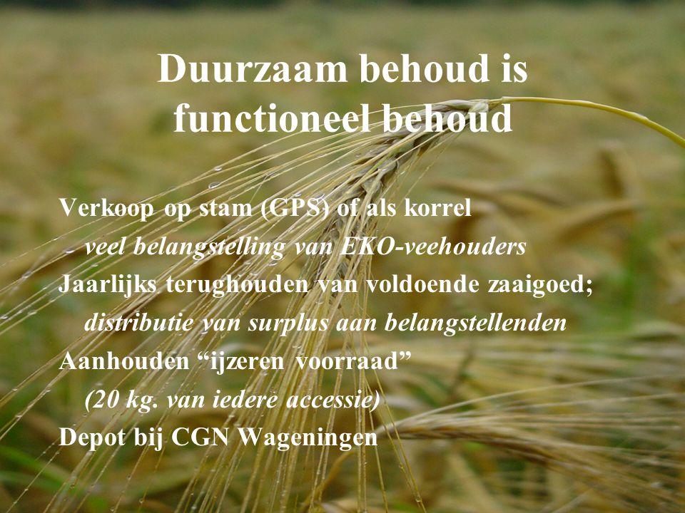 Duurzaam behoud is functioneel behoud Verkoop op stam (GPS) of als korrel veel belangstelling van EKO-veehouders Jaarlijks terughouden van voldoende z