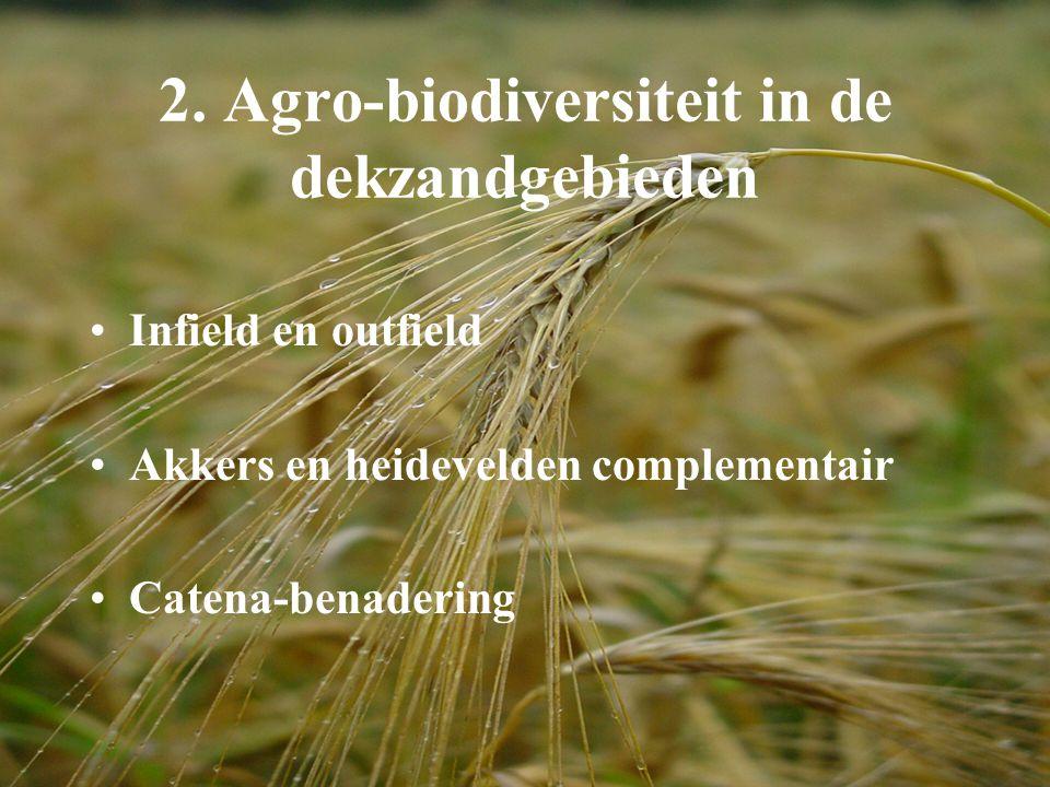 2. Agro-biodiversiteit in de dekzandgebieden Infield en outfield Akkers en heidevelden complementair Catena-benadering