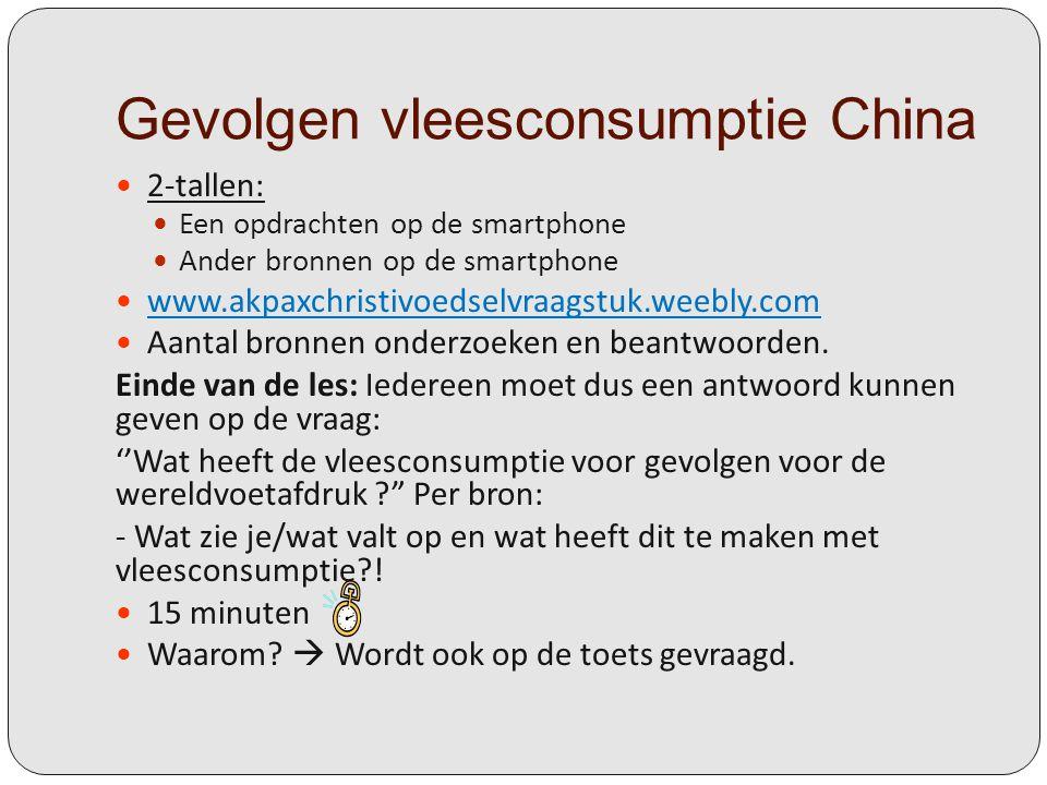 Gevolgen vleesconsumptie China 2-tallen: Een opdrachten op de smartphone Ander bronnen op de smartphone www.akpaxchristivoedselvraagstuk.weebly.com Aa