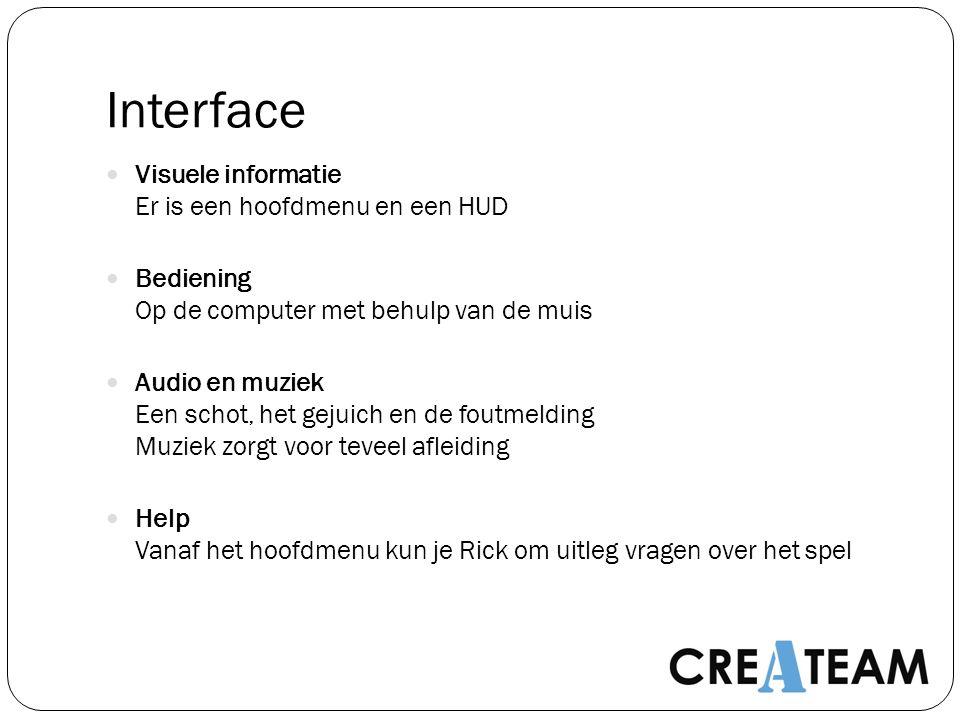 Interface Visuele informatie Er is een hoofdmenu en een HUD Bediening Op de computer met behulp van de muis Audio en muziek Een schot, het gejuich en