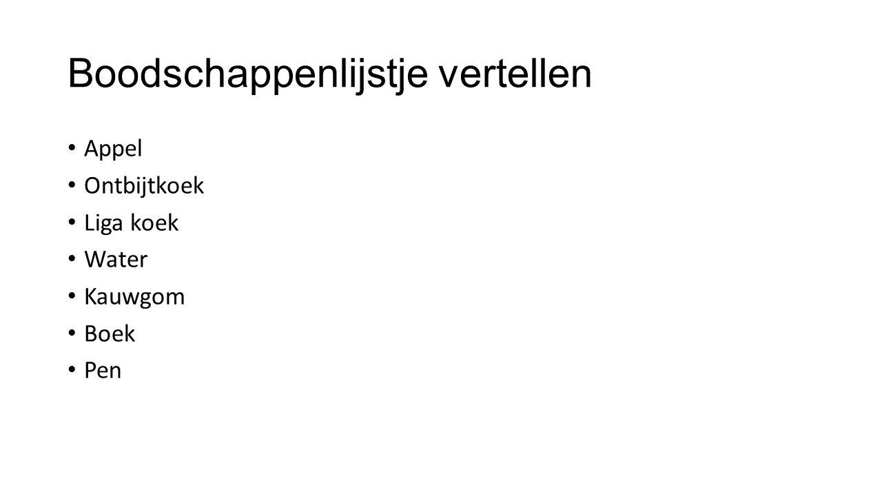 Boodschappenlijstje vertellen Appel Ontbijtkoek Liga koek Water Kauwgom Boek Pen
