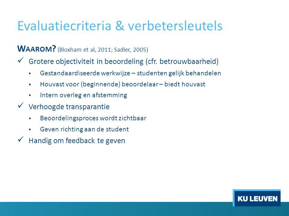 Evaluatiecriteria & verbetersleutels W AAROM .