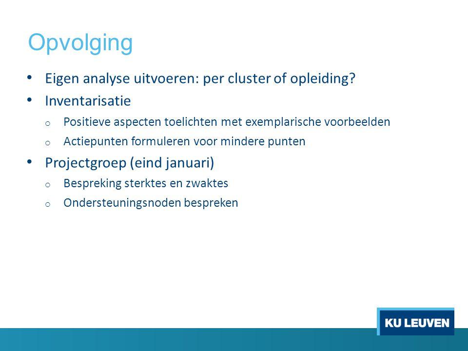 Opvolging Eigen analyse uitvoeren: per cluster of opleiding.