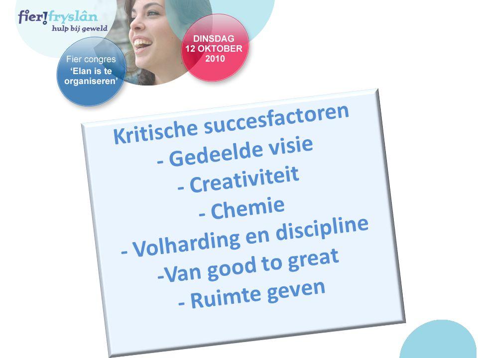 Kritische succesfactoren - Gedeelde visie - Creativiteit - Chemie - Volharding en discipline -Van good to great - Ruimte geven