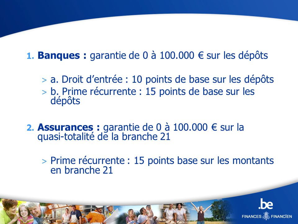 1. Banques : garantie de 0 à 100.000 sur les dépôts > a.