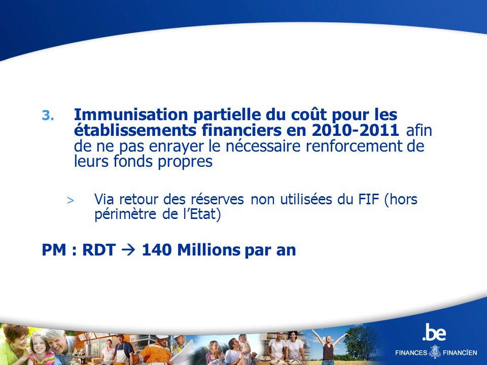3. Immunisation partielle du coût pour les établissements financiers en 2010-2011 afin de ne pas enrayer le nécessaire renforcement de leurs fonds pro