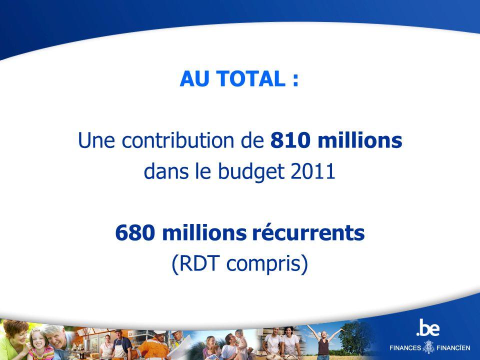 AU TOTAL : Une contribution de 810 millions dans le budget 2011 680 millions récurrents (RDT compris)