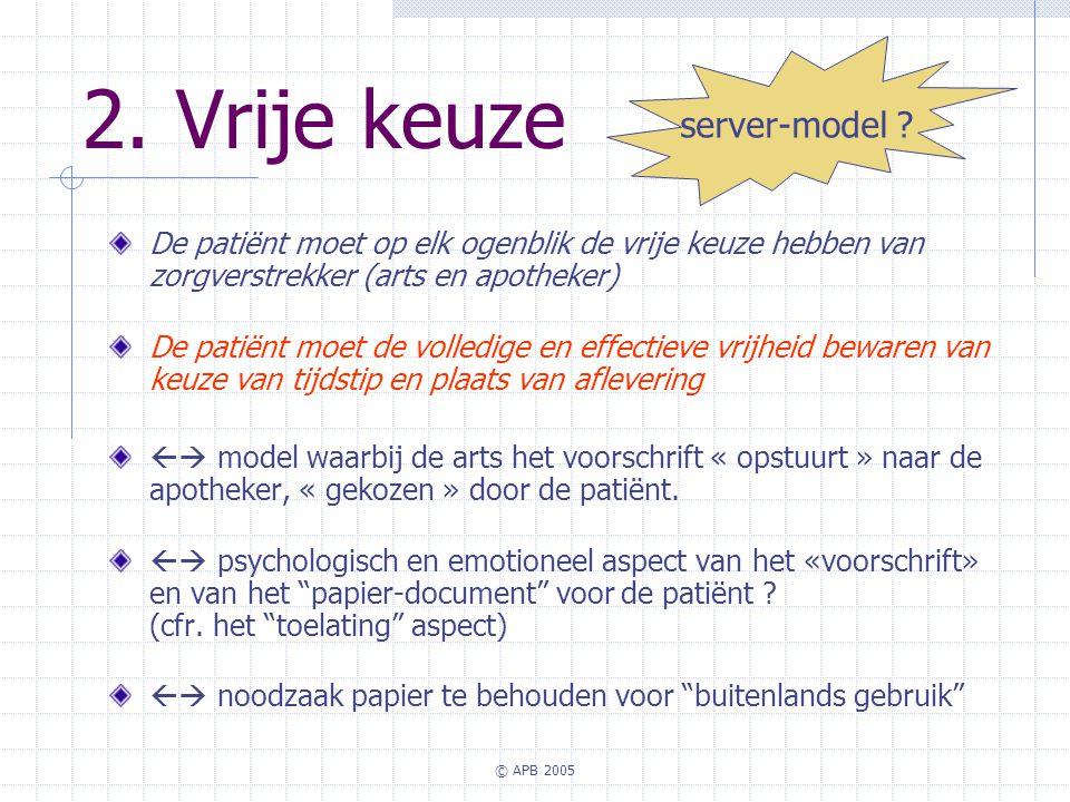 © APB 2005 2. Vrije keuze De patiënt moet op elk ogenblik de vrije keuze hebben van zorgverstrekker (arts en apotheker) De patiënt moet de volledige e