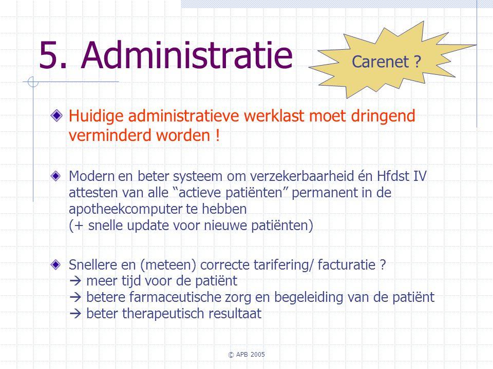 © APB 2005 5. Administratie Huidige administratieve werklast moet dringend verminderd worden ! Modern en beter systeem om verzekerbaarheid én Hfdst IV