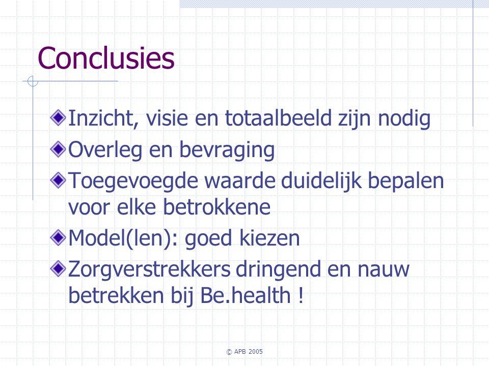 © APB 2005 Conclusies Inzicht, visie en totaalbeeld zijn nodig Overleg en bevraging Toegevoegde waarde duidelijk bepalen voor elke betrokkene Model(le