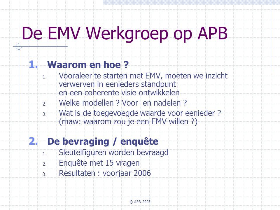© APB 2005 De EMV Werkgroep op APB 1. Waarom en hoe ? 1. Vooraleer te starten met EMV, moeten we inzicht verwerven in eenieders standpunt en een coher