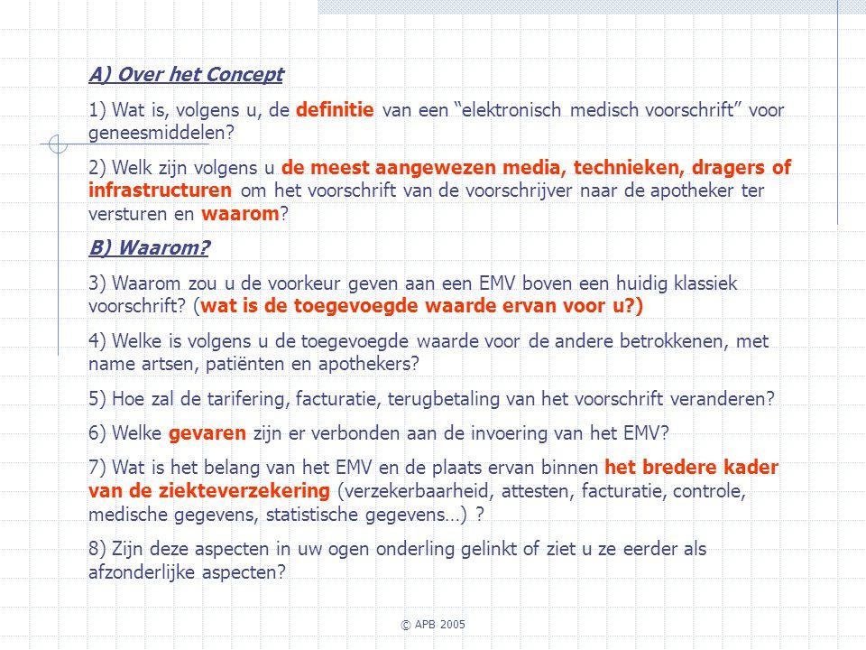 © APB 2005 A) Over het Concept 1) Wat is, volgens u, de definitie van een elektronisch medisch voorschrift voor geneesmiddelen? 2) Welk zijn volgens u