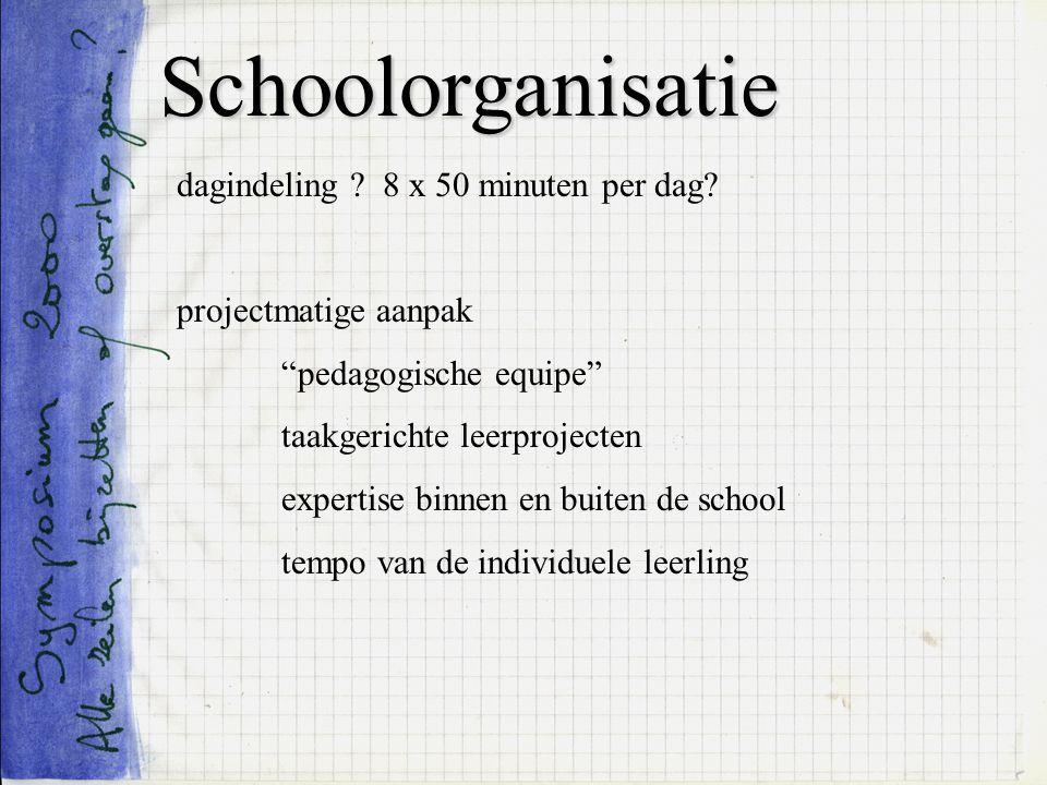 Schoolorganisatie dagindeling ? 8 x 50 minuten per dag? projectmatige aanpak pedagogische equipe taakgerichte leerprojecten expertise binnen en buiten