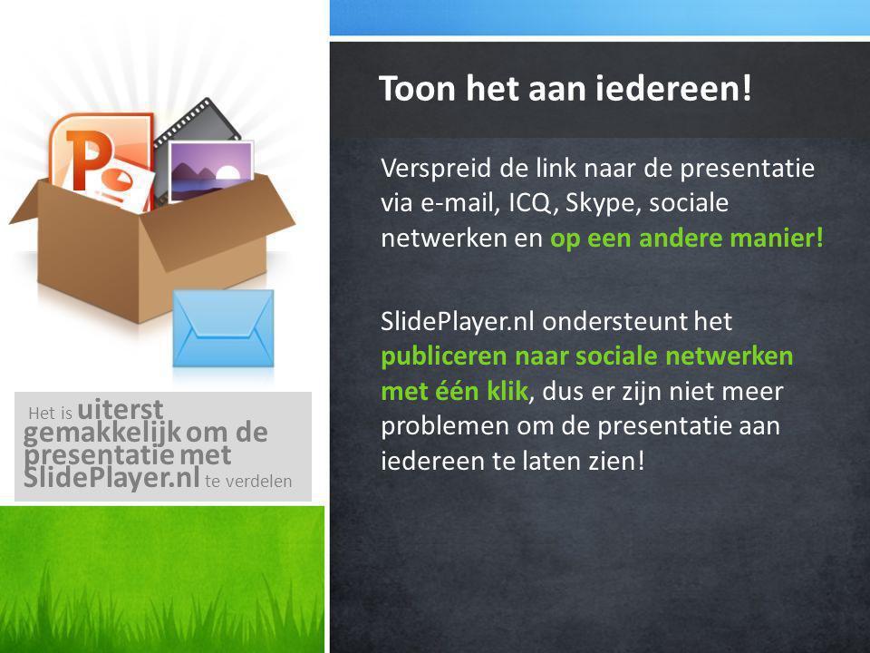 Verspreid de link naar de presentatie via e-mail, ICQ, Skype, sociale netwerken en op een andere manier.