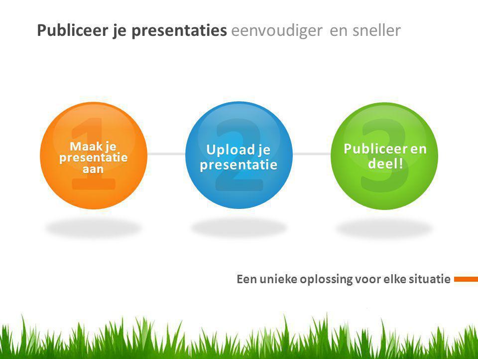 Publiceer je presentaties eenvoudiger en sneller Een unieke oplossing voor elke situatie 1 Maak je presentatie aan 2 Upload je presentatie 3 Publiceer en deel!