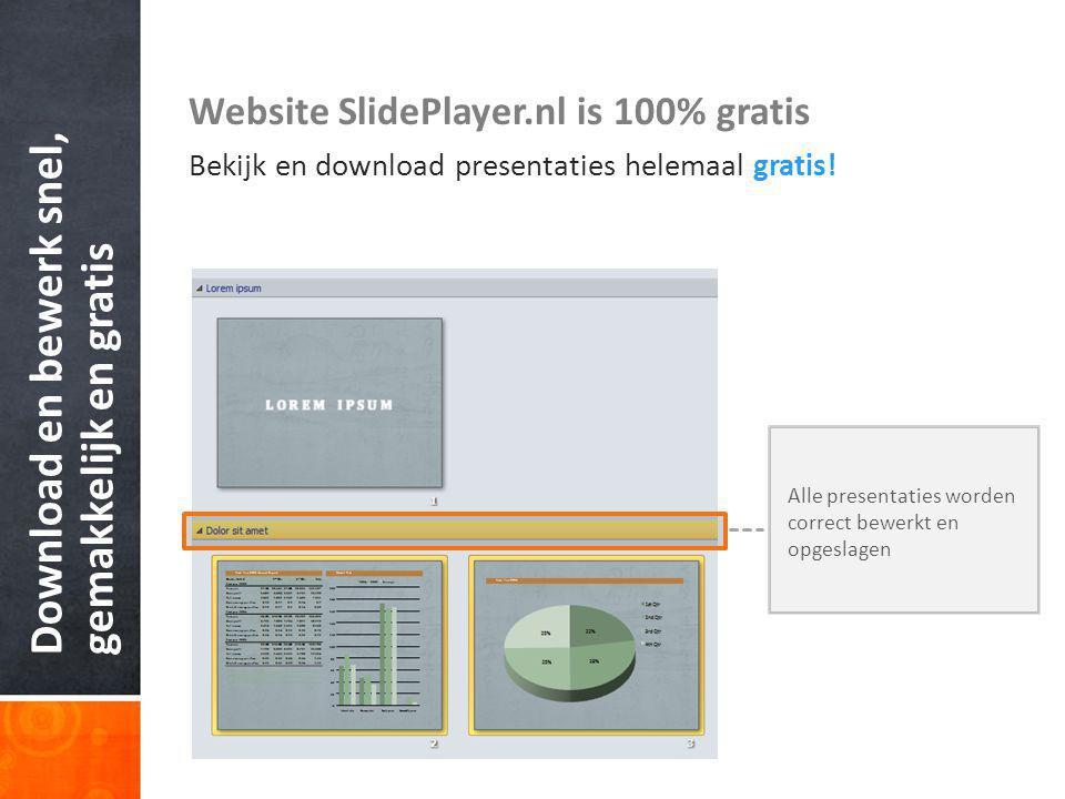 Download en bewerk snel, gemakkelijk en gratis Website SlidePlayer.nl is 100% gratis Bekijk en download presentaties helemaal gratis.