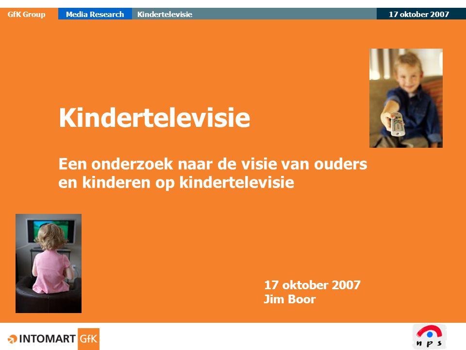 17 oktober 2007 GfK GroupMedia ResearchKindertelevisie 12 Belang en redenen samen televisie kijken OudersKinderen  Zeer belangrijk17%5%  Belangrijk49%34% Redenen:  Controle65%10%  Uitleg42%22%  Gezelligheid17%62%  Samen over praten15%15%