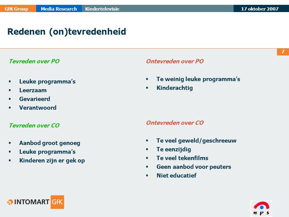 17 oktober 2007 GfK GroupMedia ResearchKindertelevisie 7 Redenen (on)tevredenheid Tevreden over PO  Leuke programma's  Leerzaam  Gevarieerd  Veran