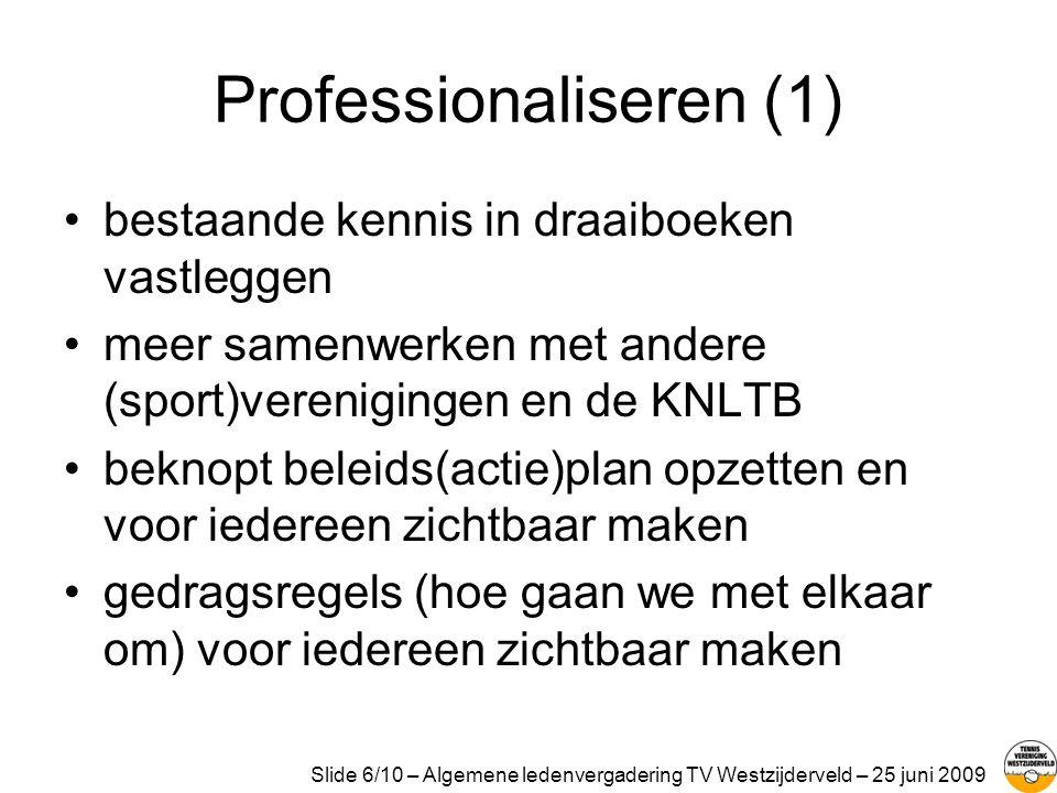 Professionaliseren (2) •vereniging van vrijwilligers: dat schept verplichtingen.