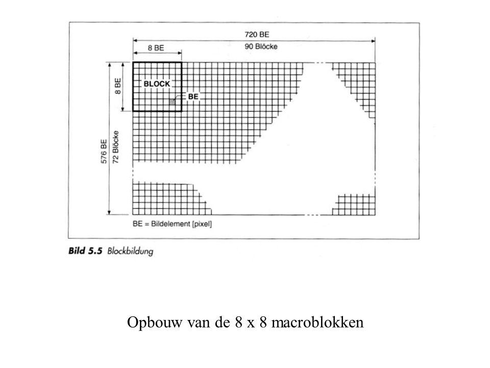 Opbouw van de 8 x 8 macroblokken