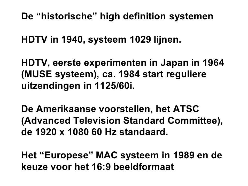 De historische high definition systemen HDTV in 1940, systeem 1029 lijnen.