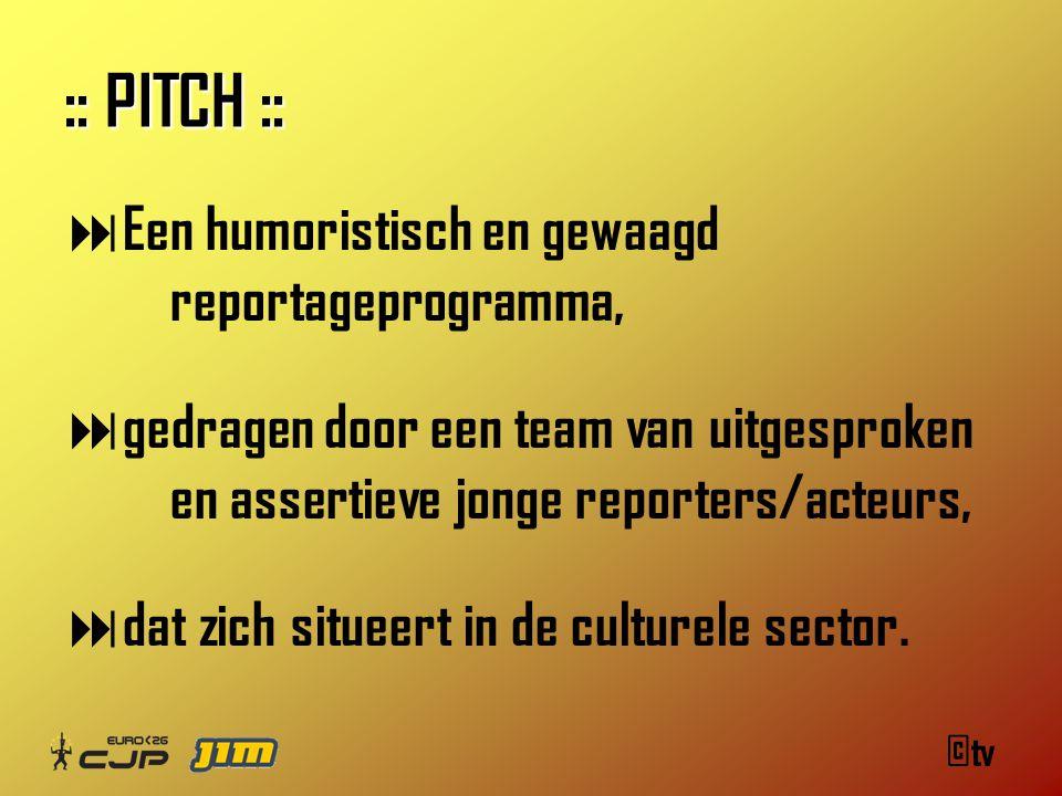 ©tv :: PITCH ::  Een humoristisch en gewaagd reportageprogramma,  gedragen door een team van uitgesproken en assertieve jonge reporters/acteurs,  dat zich situeert in de culturele sector.