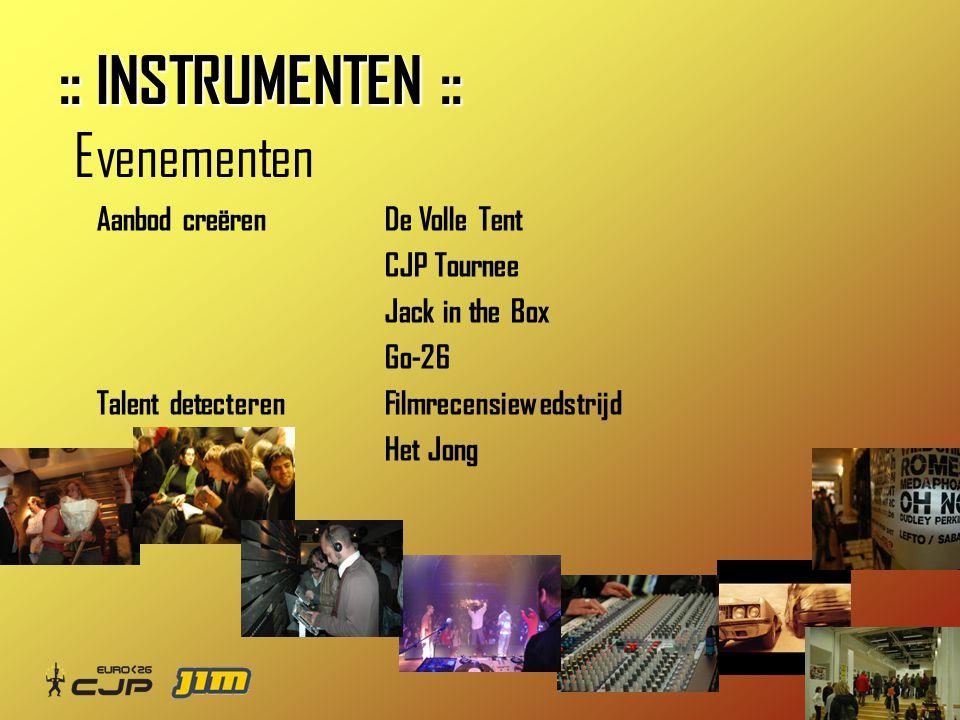 ©tv Aanbod creërenDe Volle Tent CJP Tournee Jack in the Box Go-26 Talent detecterenFilmrecensiewedstrijd Het Jong Evenementen :: INSTRUMENTEN ::