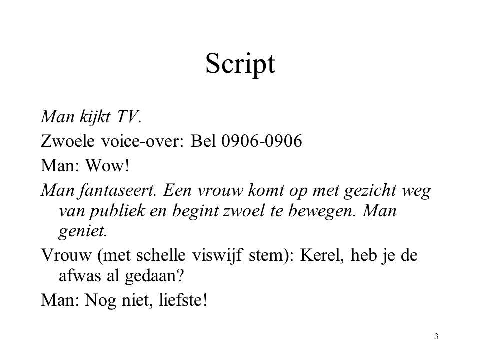 3 Script Man kijkt TV. Zwoele voice-over: Bel 0906-0906 Man: Wow! Man fantaseert. Een vrouw komt op met gezicht weg van publiek en begint zwoel te bew