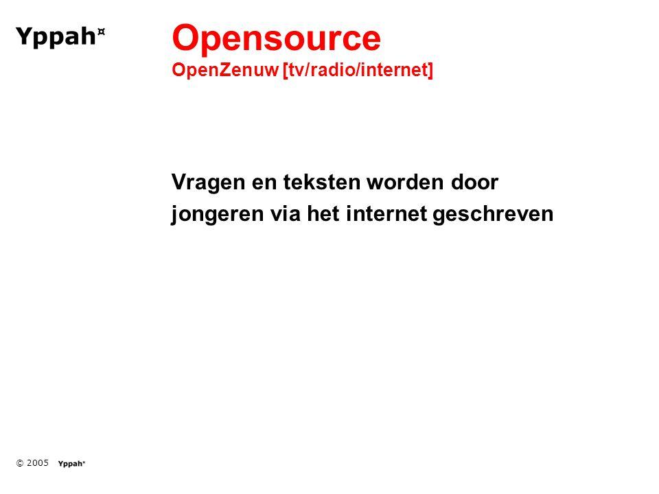 © 2005 Opensource OpenZenuw [tv/radio/internet] Vragen en teksten worden door jongeren via het internet geschreven