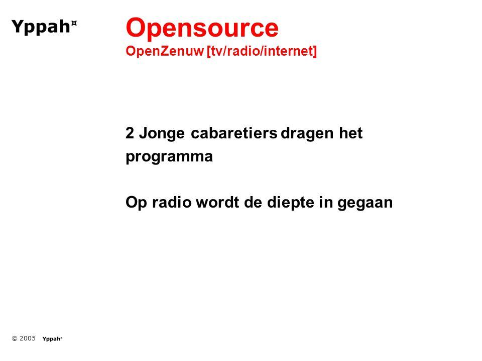 © 2005 Opensource OpenZenuw [tv/radio/internet] 2 Jonge cabaretiers dragen het programma Op radio wordt de diepte in gegaan