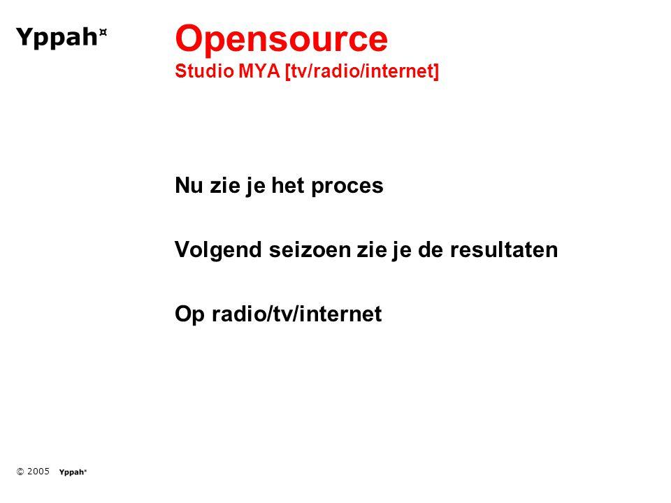 © 2005 Opensource Studio MYA [tv/radio/internet] Nu zie je het proces Volgend seizoen zie je de resultaten Op radio/tv/internet