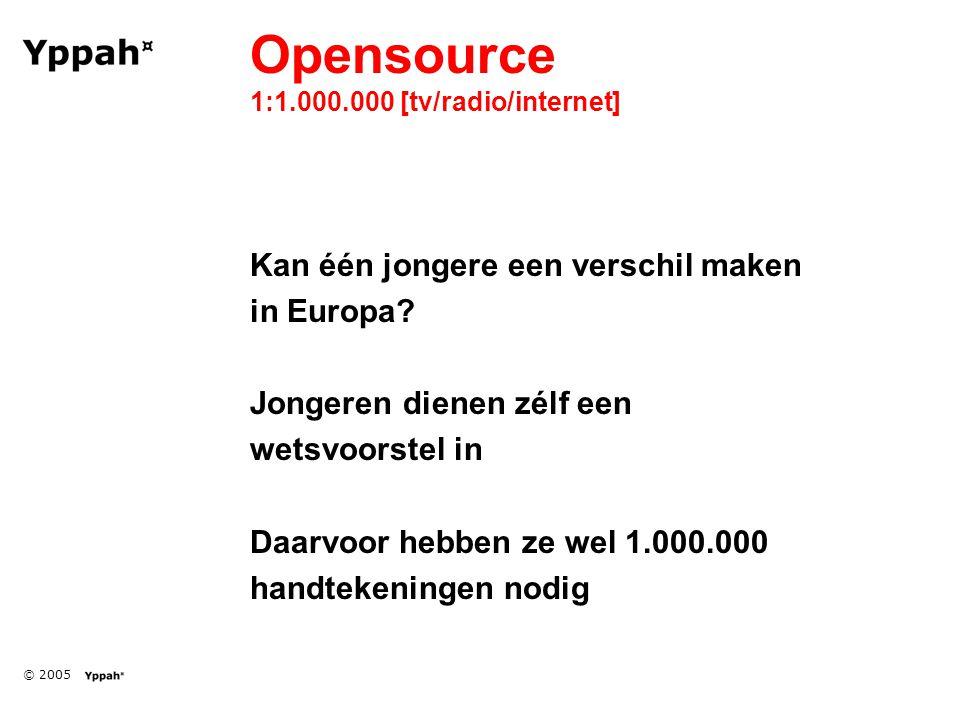 © 2005 Opensource 1:1.000.000 [tv/radio/internet] Kan één jongere een verschil maken in Europa.