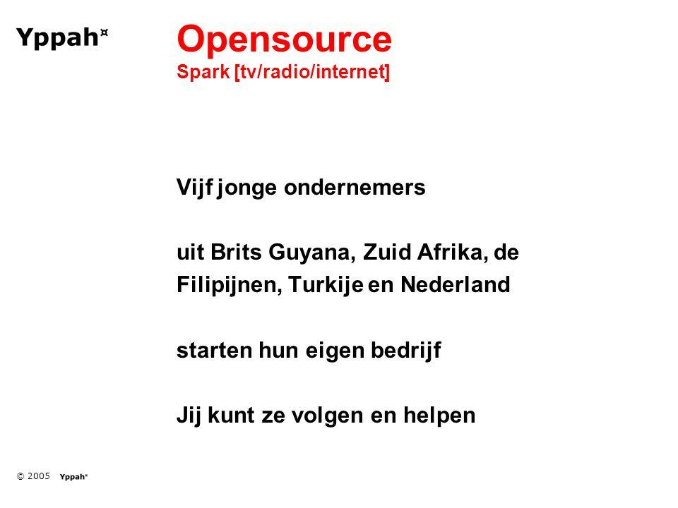 © 2005 Opensource Spark [tv/radio/internet] Vijf jonge ondernemers uit Brits Guyana, Zuid Afrika, de Filipijnen, Turkije en Nederland starten hun eigen bedrijf Jij kunt ze volgen en helpen