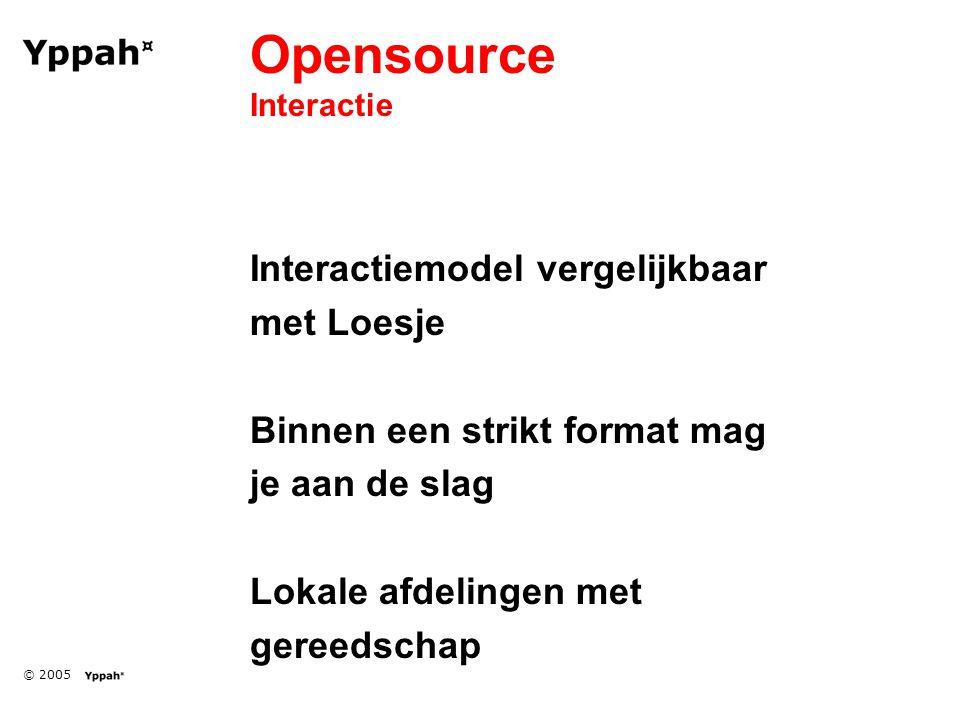 © 2005 Opensource Interactie Interactiemodel vergelijkbaar met Loesje Binnen een strikt format mag je aan de slag Lokale afdelingen met gereedschap
