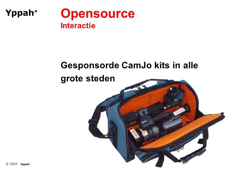 © 2005 Opensource Interactie Gesponsorde CamJo kits in alle grote steden