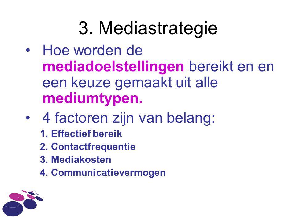 3. Mediastrategie •Hoe worden de mediadoelstellingen bereikt en en een keuze gemaakt uit alle mediumtypen. •4 factoren zijn van belang: 1.Effectief be