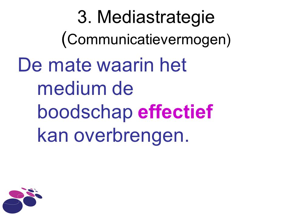 3. Mediastrategie ( Communicatievermogen) De mate waarin het medium de boodschap effectief kan overbrengen.