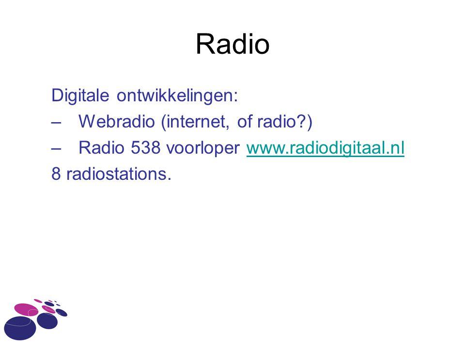 Radio Digitale ontwikkelingen: –Webradio (internet, of radio?) –Radio 538 voorloper www.radiodigitaal.nlwww.radiodigitaal.nl 8 radiostations.