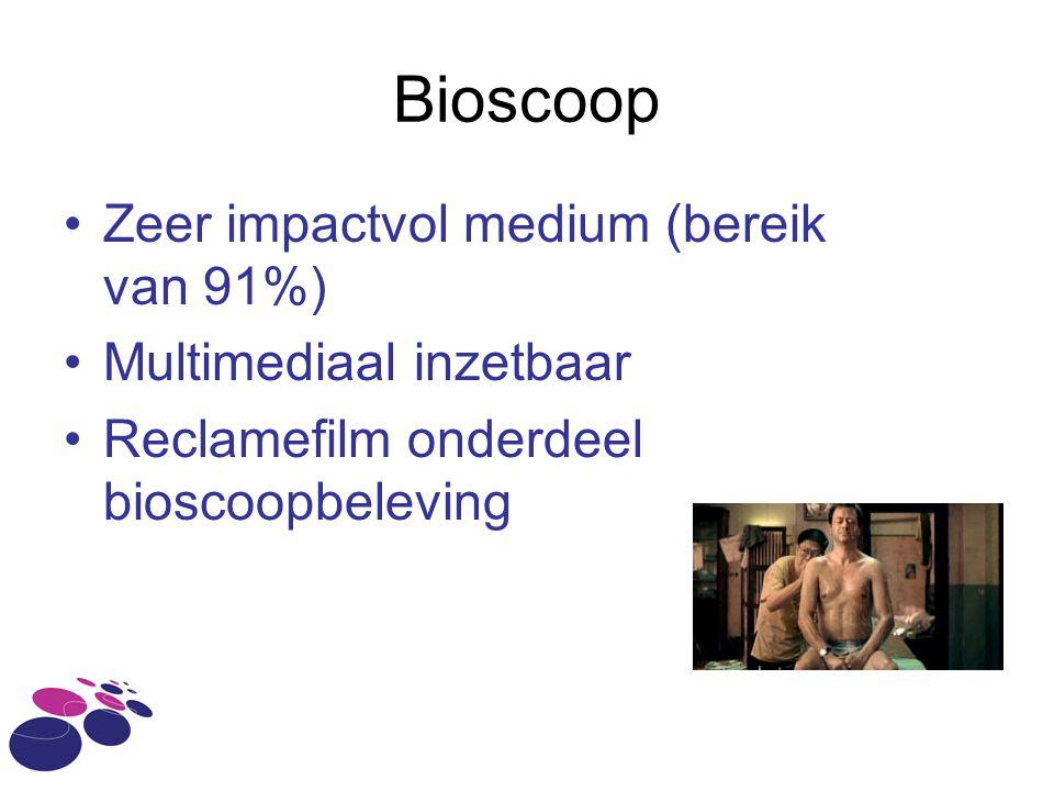 Bioscoop •Zeer impactvol medium (bereik van 91%) •Multimediaal inzetbaar •Reclamefilm onderdeel bioscoopbeleving