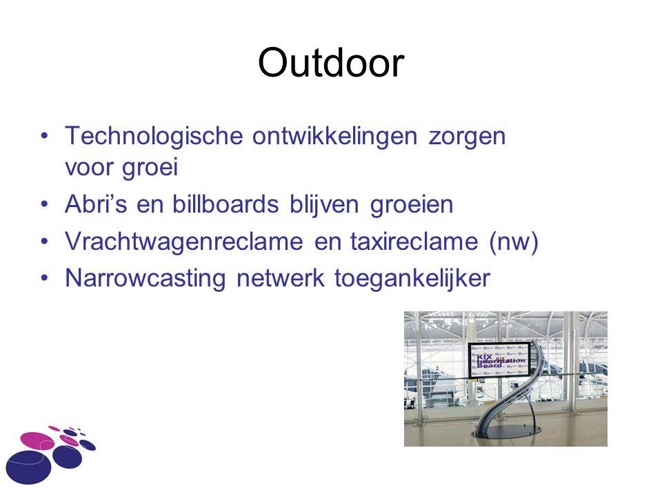 Outdoor •Technologische ontwikkelingen zorgen voor groei •Abri's en billboards blijven groeien •Vrachtwagenreclame en taxireclame (nw) •Narrowcasting netwerk toegankelijker