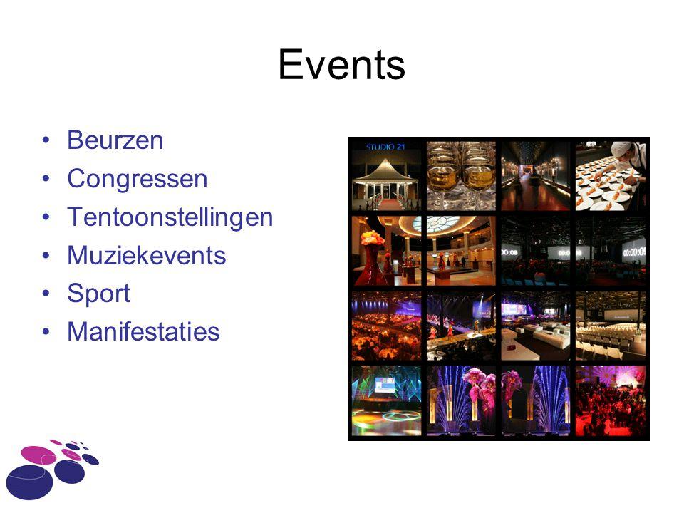 Events •Beurzen •Congressen •Tentoonstellingen •Muziekevents •Sport •Manifestaties