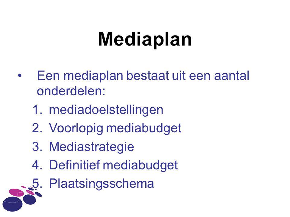 Mediaplan •Een mediaplan bestaat uit een aantal onderdelen: 1.mediadoelstellingen 2.Voorlopig mediabudget 3.Mediastrategie 4.Definitief mediabudget 5.Plaatsingsschema