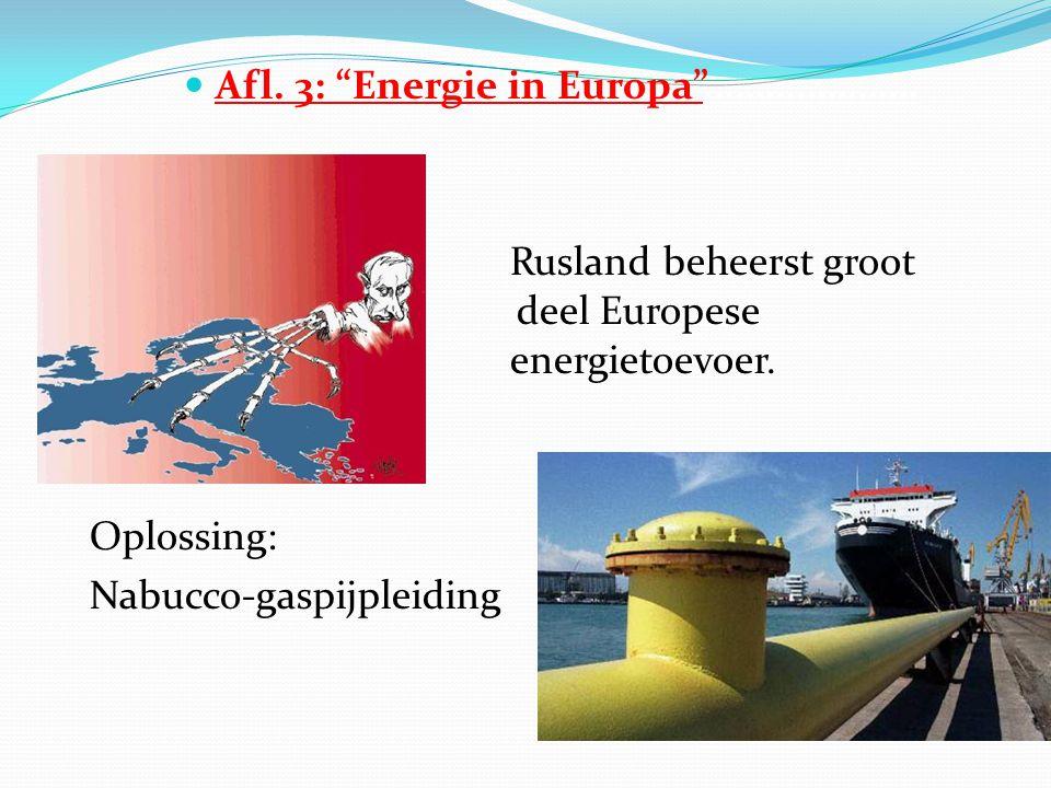  Afl. 3: Energie in Europa ………………… Rusland beheerst groot deel Europese energietoevoer.
