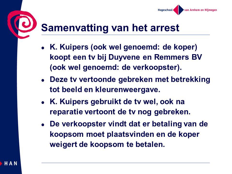 Samenvatting van het arrest  K. Kuipers (ook wel genoemd: de koper) koopt een tv bij Duyvene en Remmers BV (ook wel genoemd: de verkoopster).  Deze
