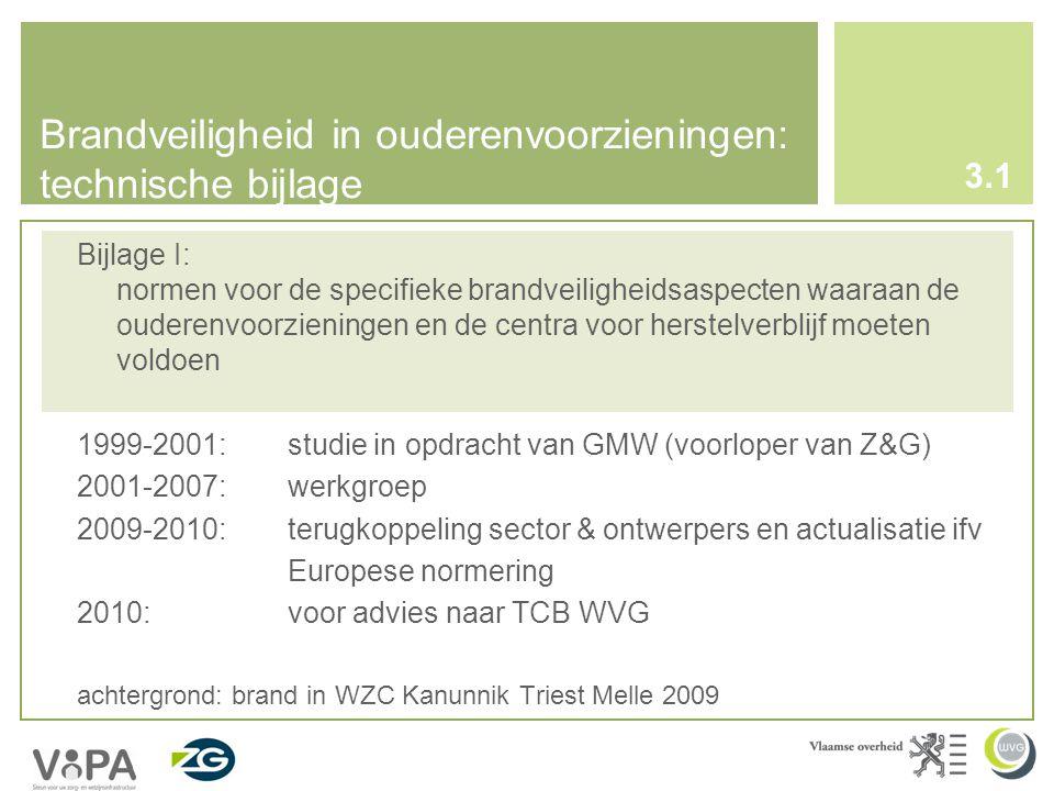 Brandveiligheid in ouderenvoorzieningen: technische bijlage Bijlage I: normen voor de specifieke brandveiligheidsaspecten waaraan de ouderenvoorzieningen en de centra voor herstelverblijf moeten voldoen 1999-2001:studie in opdracht van GMW (voorloper van Z&G) 2001-2007: werkgroep 2009-2010: terugkoppeling sector & ontwerpers en actualisatie ifv Europese normering 2010: voor advies naar TCB WVG achtergrond: brand in WZC Kanunnik Triest Melle 2009 3.1