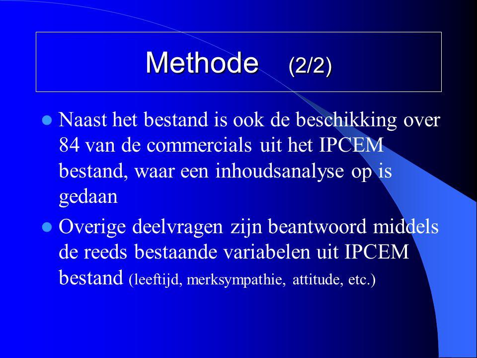 Methode (2/2)  Naast het bestand is ook de beschikking over 84 van de commercials uit het IPCEM bestand, waar een inhoudsanalyse op is gedaan  Overi